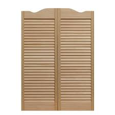 pinecroft 36 in x 42 in louvered wood cafe door 853642 the louvered wood cafe door 853642 the home depot