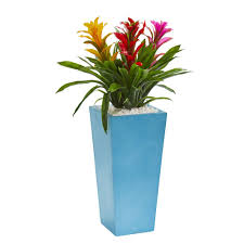 artificial plants 26 bromeliad artificial plant in turquoise tower vase