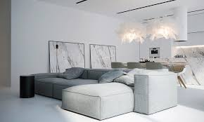 canap tissu blanc intérieur blanc moderne salon avec grand canapé d angle modulable