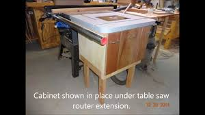 Router Cabinet by Table Saw Extension Router Cabinet Youtube