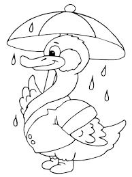 duck umbrella rain coloring free printable