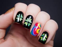 shamrocks rainbows and gold of course chalkboard nails