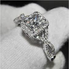 white topaz engagement ring classic princess cut white topaz diamonique 925 silver wedding