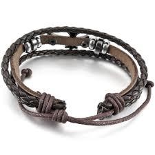 man wrist bracelet images Men women 39 s 2 pcs alloy genuine leather bracelet bangle cuff black jpg