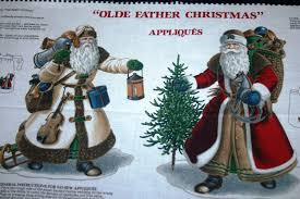 beautiful 4 old father christmas appliqué on one fabric