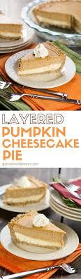 layered pumpkin cheesecake pie garnish with lemon