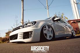 slammed volkswagen gti vw gti mk6 white fifteen52 tarmac bagged air suspension 002