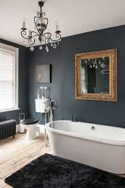 Chandelier Above Bathtub Nice Bathroom With Black Walls And Chandelier Over Black Mat And