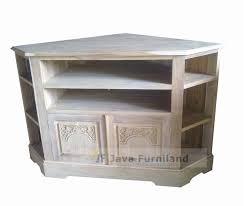 teak corner tv table stand with hand carving door solid teak wood