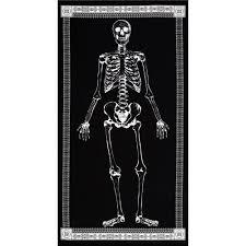 Glow In The Dark Home Decor Timeless Treasures Glow In The Dark 24 In Skeleton Panel Black