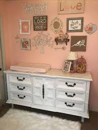 Nursery Bird Decor Room Nursery Coral Burlap Bird Decor White Dresser Diy