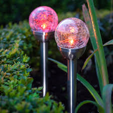 Glass Globes For Garden Solalite 6 X Stainless Steel Colour Changing Solar Crackle Ball