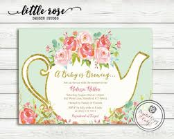 a baby is brewing a baby is brewing baby shower tea party invitation garden tea