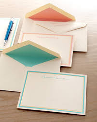 pastel and gold bordered cards and envelopes at neiman
