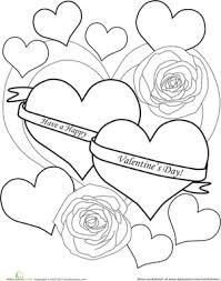 color the happy valentine u0027s day message worksheet education com