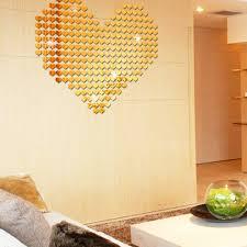 online get cheap gold wall sticker wallpaper aliexpress com 100pcs 3d heart wall sticker self adhensive silver gold wall stickers acrylic mirror decals wallpaper for