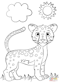 cute cartoon jaguar coloring page free printable coloring pages