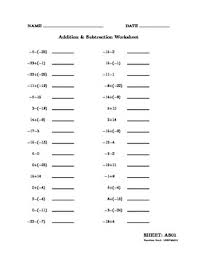 addition and subtraction of signed integers 100 worksheets by