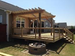 Pergola With Fire Pit by Deck And Pergola Glidden Construction