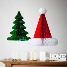 christmas tree u0026 hat honeycomb hanging decorations lights4fun co uk