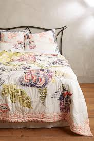 Anthropologie Bed Skirt Woodblock Floral Quilt Anthropologie
