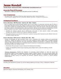 Kronos Resume Example Payroll Processor Resume Free Sample