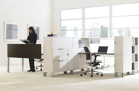 Teknion Reception Desk Low Filing Cabinet Tall Wooden Aluminum District Teknion