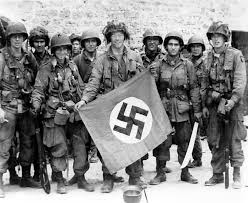 German Flag In Ww2 Photo Paratrooper Of Us 101st Airborne Division Holding A