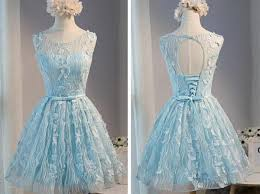 tiffany blue open back lace cute homecoming prom dresses