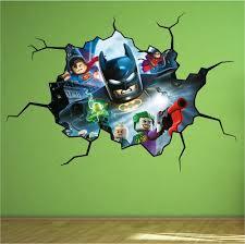 lego batman cracked wall full colour print wall art sticker decal