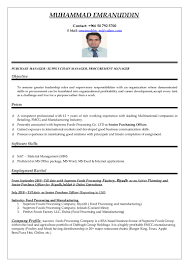 Resume Manager Purchasing Manager Cv Word