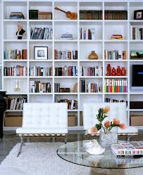living room modern living room design with big whte bookshelf and