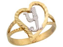 two tone gold fancy cursive letter y unique heart initial ring jl