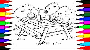 colours for kids picnic table coloring pages l how to draw picnic