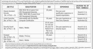 jobs in nadra ministry of interior regional head office latest