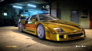 golden ferrari need for speed golden chrome ferrari f40 youtube
