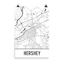 Map Of Hershey Pennsylvania by Hershey Pa Street Map Poster Wall Print By Modern Map Art