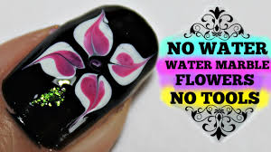 no water marble nail art flower tutorial 8 youtube