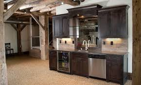 Traditional Dark Wood Kitchen Cabinets Kitchen Attractive Contemporary Basement Kitchen Ideas With