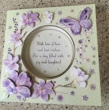 handmade happy birthday card 3d decoupage lilac flowers