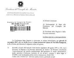 convocazione consiglio dei ministri roma 23 11 2017 convocazione stato regioni per discussione profilo