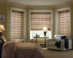 bedroom bay windows decorated with bamboo natural blinds