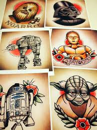 parlor tattoo prints star wars traditional tattoo flash set