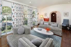 Angela Adams Rugs Tete A Tete Sofa Living Room Midcentury With Arc Lamp Area Rug