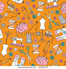 seamless sewing supplies sewing machine diy stock vector 205038730