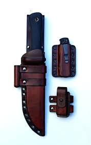 hand forged japanese kitchen knives leather sheathe custom fixed