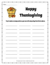 thanksgiving word bank activity by teaching to tpt