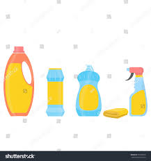 house cleaning tools cleaning elements bottles stock vector