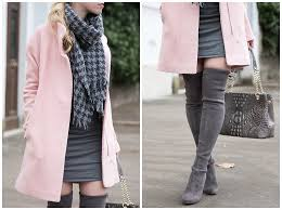 winter cheer pink coat houndstooth scarf u0026 gray boots
