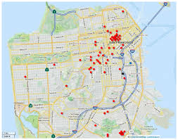 san francisco hospitals map map of san francisco showing geographic distribution of
